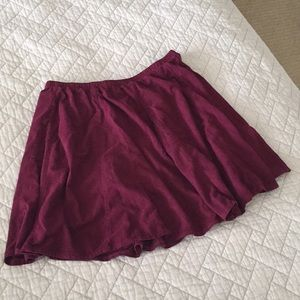 Brandy Melville maroon red soft skater skirt